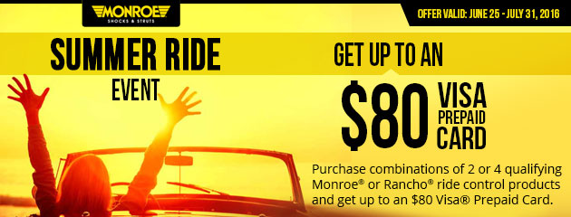 Monroe Summer Ride Event Get up to $80 Visa Prepaid Card