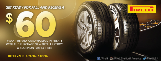 Pirelli Get Ready for Fall $60 Rebate