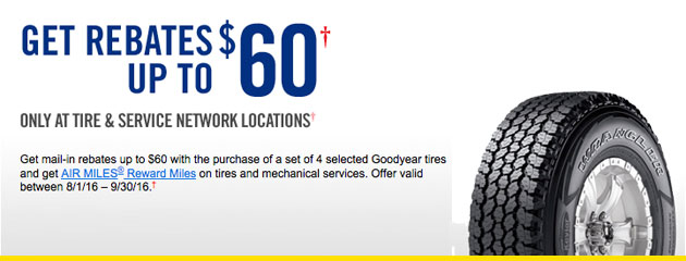 Goodyear Get Up to $60 Mail-In Rebates