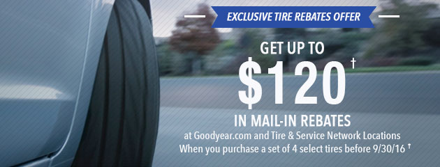 Goodyear Get Up to $120 Mail-In Rebates