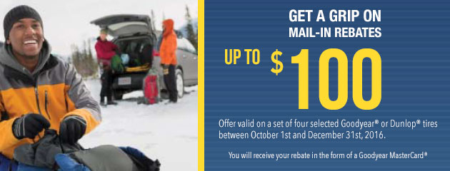 Goodyear Get a Grip on Mail-in Rebates up to $100