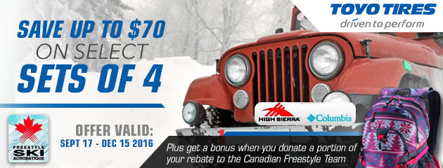 Toyo Save Up to $70off on a select set of 4 tires