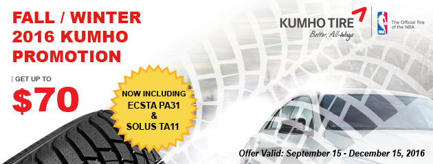 Kumho Get Up to $70 Fall/Winter Promotion