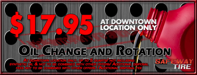 Downtown Location - Oil Change and Rotation for $17.95
