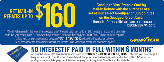 Goodyear CC up to $160 Rebate