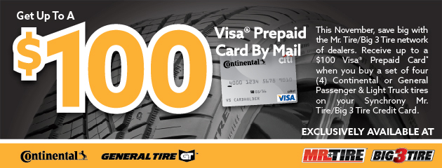 Continental/General $100 Rebate Mr. Tire/Big 3