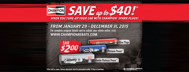 Champion Spark Plugs Save up to $40