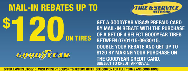Goodyear TSN up to $120 Rebate on Tires