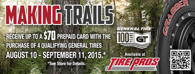 General up to $70 Rebate Tire Pros