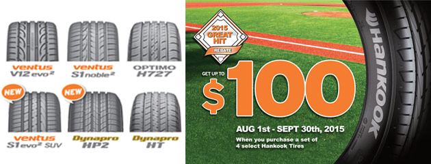 Hankook up to $100 Rebate August/September Promotion