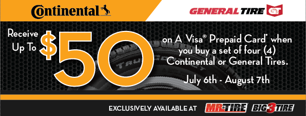 Continental/General $50 Rebate Mr. Tire/Big 3