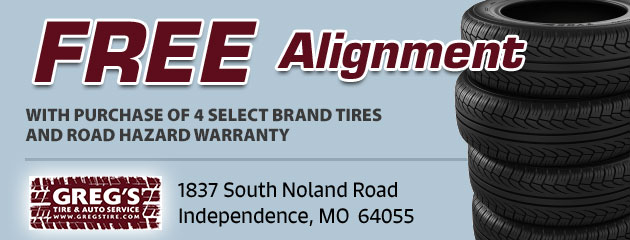 Free Alignment with Purchase of 4 Select Brand Tires