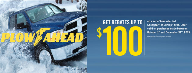 Goodyear Up to $100 Plow Ahead Rebate