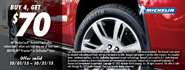 Michelin $70 Rebate October TCI Promotion