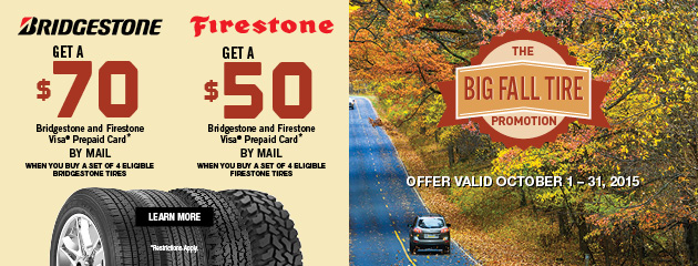 Bridgestone/Firestone up to $70 Rebate Lake Tire