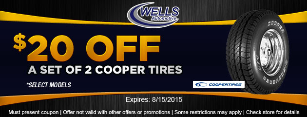 $20 OFF set of 2 Cooper Tires