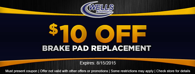 $10 off brake pad replacement