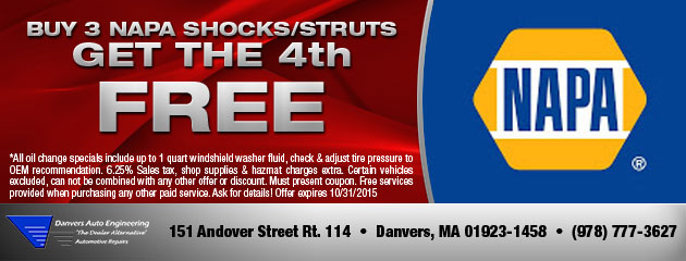 Buy Napa Shocks/Struts and Get the 4th Free Coupon