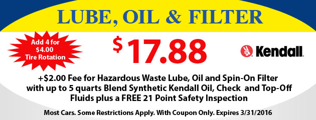 Lube, Oil Filter Special