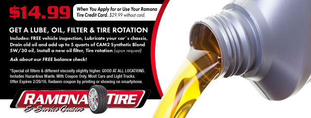 $14.99 Lube, Oil, Filter & Tire Rotation Coupon
