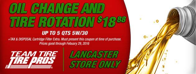 $18.88 Oil Change and Tire Rotation Coupon - Lancaster