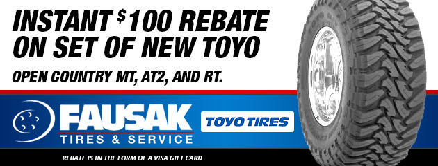 Instant $100 Rebate On Select Toyo Tires