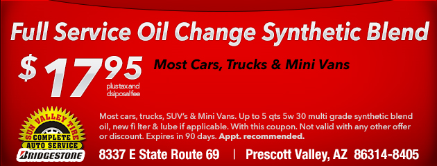Basic Service Oil Change Synthetic Blend