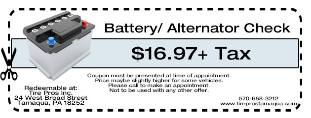 Battery/ Alternator Check $16.97+ Tax