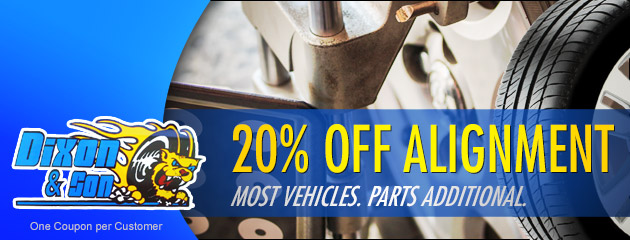 20% off Alignment. Most vehicles. Parts additional