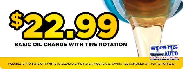 $22.99 Basic oil change with tire rotation