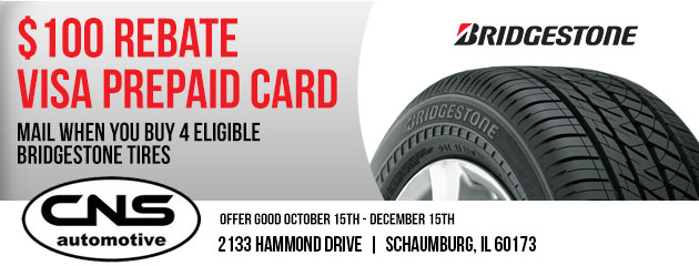 $100 Rebate on select Bridgestone Tires