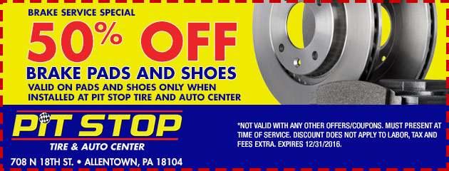 50% off brake pads and shoes