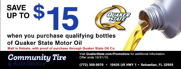 Save up to $15 when you purchase qualifying bottles of Quaker State Motor Oil