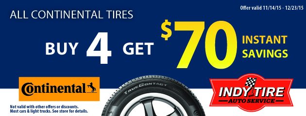 All Continental Tires - Buy4 get $70