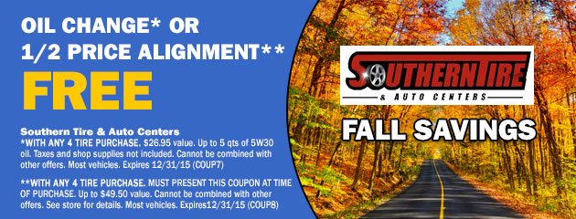 FREE Oil Change Or 1/2 Price Alignment
