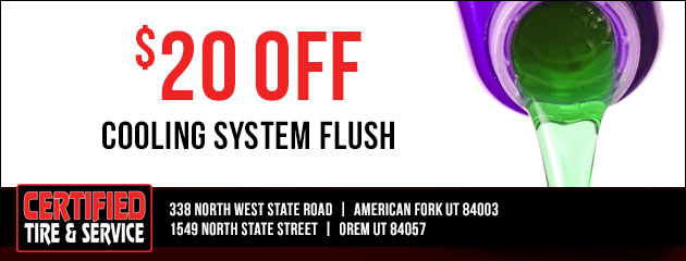 $20.00 off cooling system flush