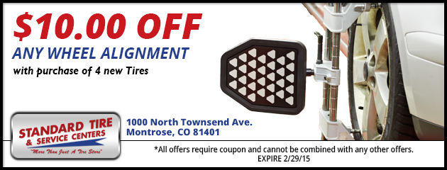 $10.00 off any Wheel Alignment with purchase of 4 new Tires