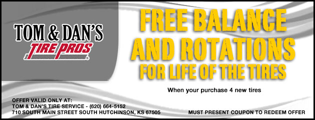 Free balance and rotations for life of the tires when your purchase 4 new tires