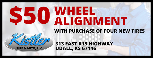 $50 Wheel Alignment with purchase of four new tires