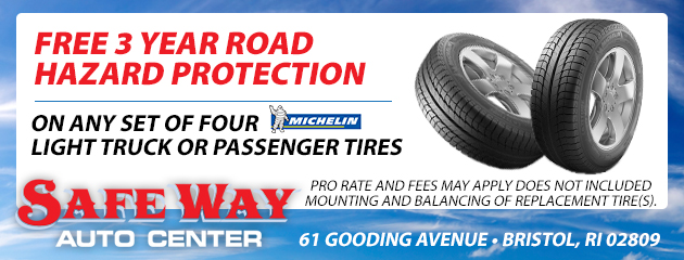 FREE 3 Year Road hazard protection on any set of four Michelin light truck or passenger tires