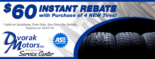 $60 Instant Rebate with Purchase of 4 NEW Tires