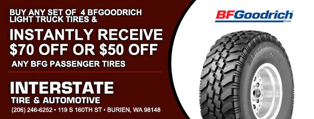 Buy 4 BFGoodrich light truck Tires & receive $70 Off or $50 passenger tires