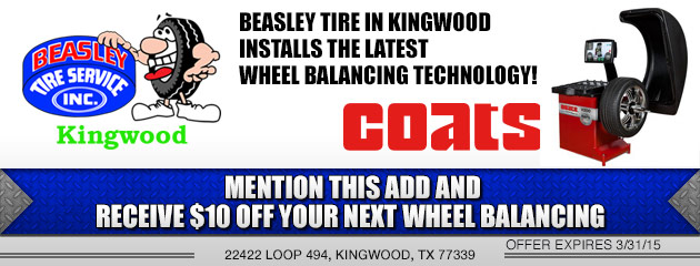 Beasley tire in Kingwood installs the latest wheel balancing technology!