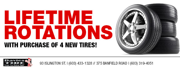 Lifetime rotations with purchase of 4 new tires!