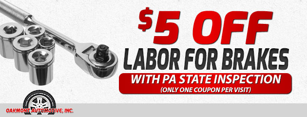 $25 off labor for brakes with PA State Inspection