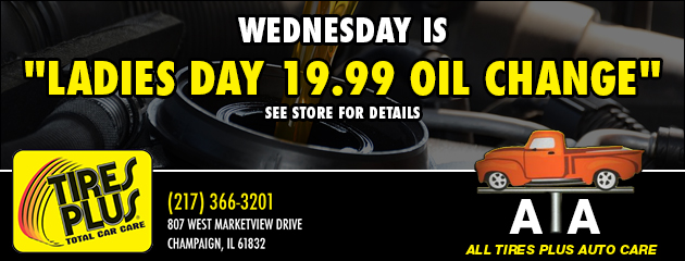 "Wednesday is ""Ladies Day 19.99 oil change"""