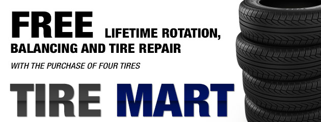 Free Lifetime Rotation, Balancing and Tire Repair with the purchase of Four Tires