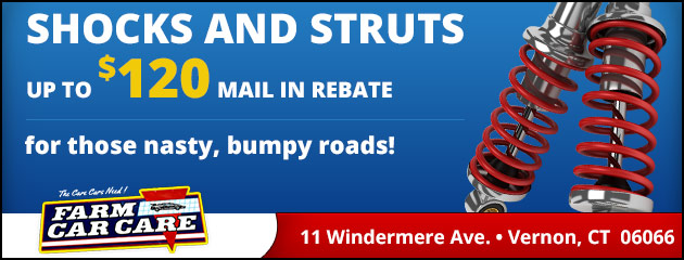 shocks and struts, up to $120 mail in rebate for those nasty, bumpy roads!