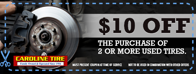 $10 off purchase of 2 or more used tires