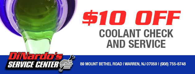 10% off coolant check and service